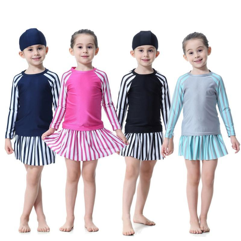 Muslim Girls Swimwear Dress Islamic Kids Swimming Suits Modest Beach Wear Bathing Suit Children Traditional Arab Swimming Hijab