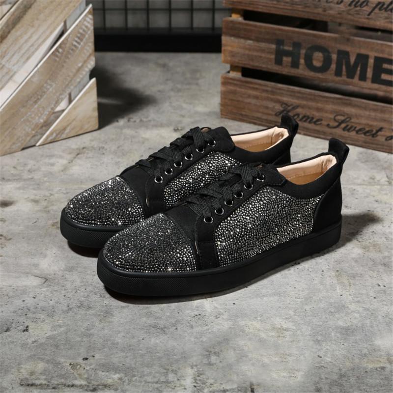 Top Designer Chaussures de sport rouge chaussure Bas Low Cut Chaussures de luxe de Suede pour hommes et femmes Chaussures Parti cristal de mariage en cuir SneakersA27