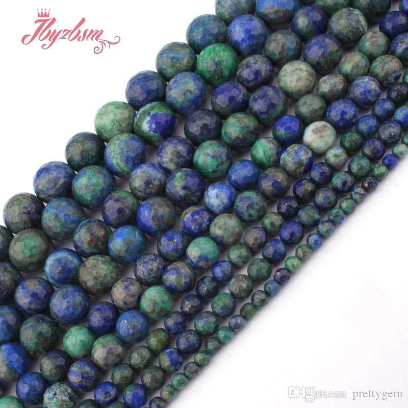 100/% Natural Lapis Lazuli Gemstone Faceted Round Beads 15/'/' 6mm 8mm 10mm 12mm