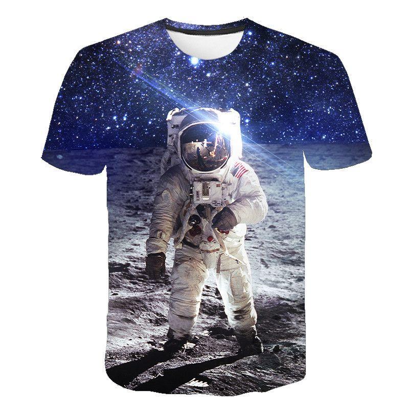 Лето 2020 Новая мужская одежда футболка 3D пространство астронавт печати тенниска SpaceX Spaceship 3D МАЙКИ Rocket Ьотте StarmanX Топы Тис