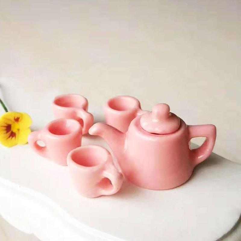 Mini porcelaine Jouet Maison 01:12 Maison de poupée miniature moderne 5 porcelaine Set 2 couleurs Arts de la table de cuisine Dollhouse