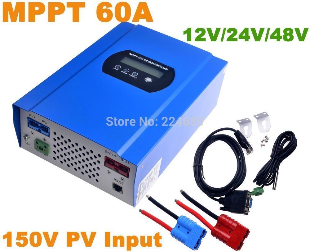 Freeshipping 60A MPPT 솔라 컨트롤러 12V / 24V / 48VDC 자동 최대 150V PV 입력 배터리 레귤레이터 충전기 RS232 커넥터