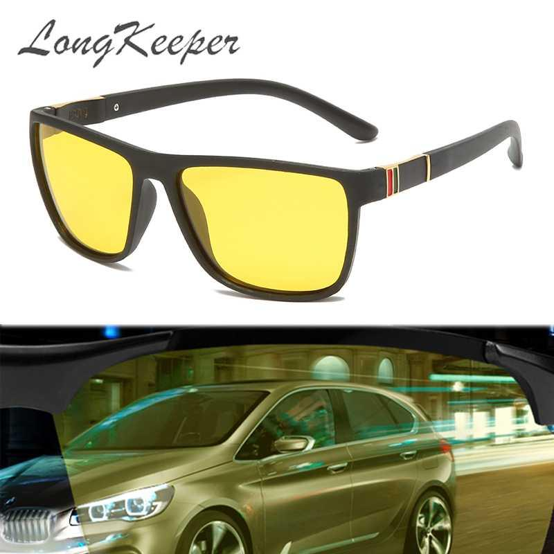 LongKeeper 유연한 나이트 비전 선글라스 남성 광장 노란색 렌즈 UV400 눈부심 방지 밤 안경 안전 운전 안경 oculos