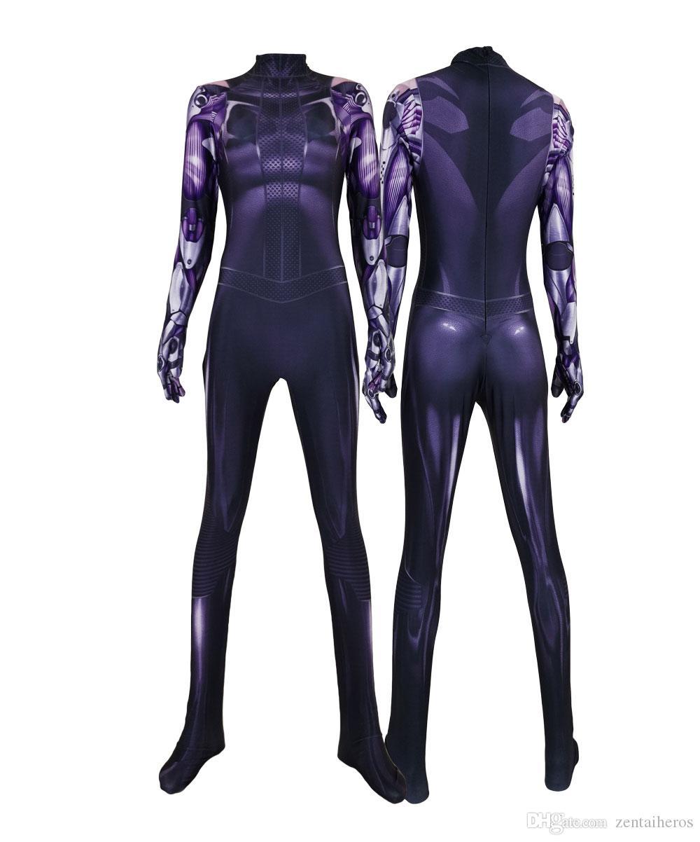 Women Moive Alita Cosplay Costumes 3D Printed Lycra Spandex Alita: Battle Angel Jumpsuit Halloween Zentai Bodysuits for Women/Female/Girls
