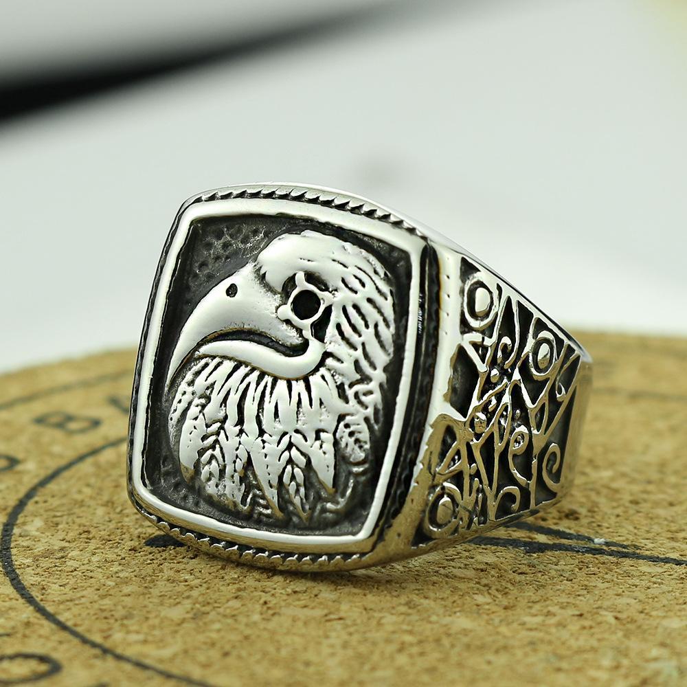 2020 neue Art-2019 Titan Stahl Adler Ring-Edelstahl-Weinlese-Tier Adler Ring europäische und amerikanische neue Schmucksachen Kundenspezifische US-Größe