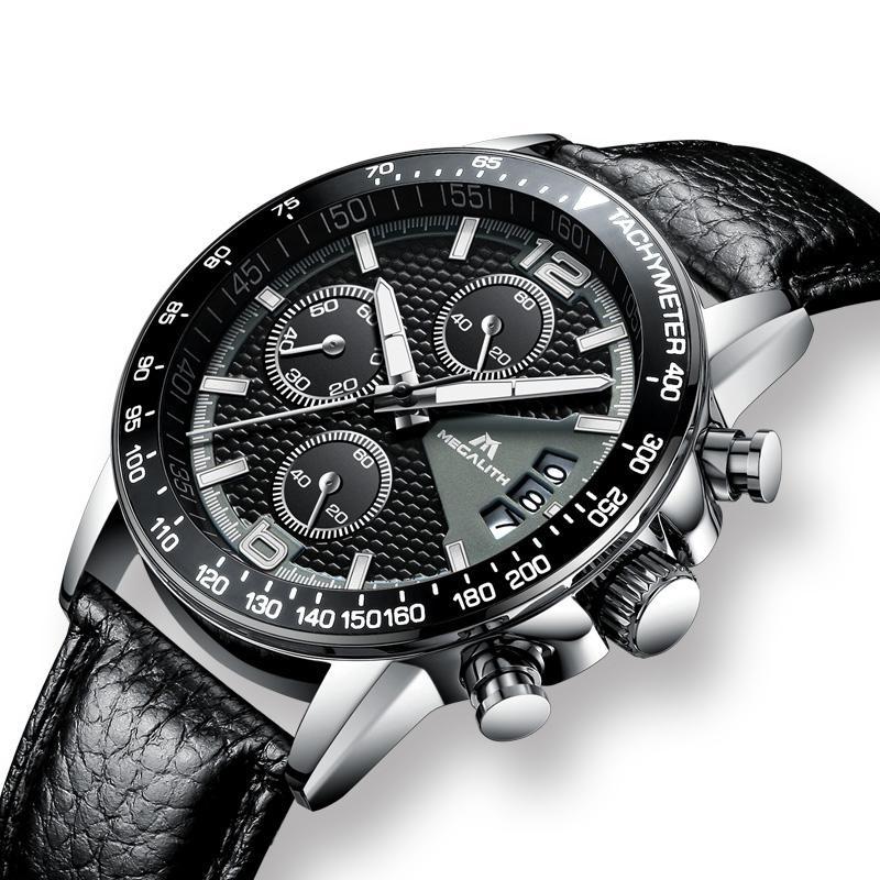 MEGALITH Männer Sport Chronograph Uhren Wasserdicht Datum-Kalender-Quarz-Uhren der Männer beiläufige Art und Weise Lederband Armbanduhr Fach Männer