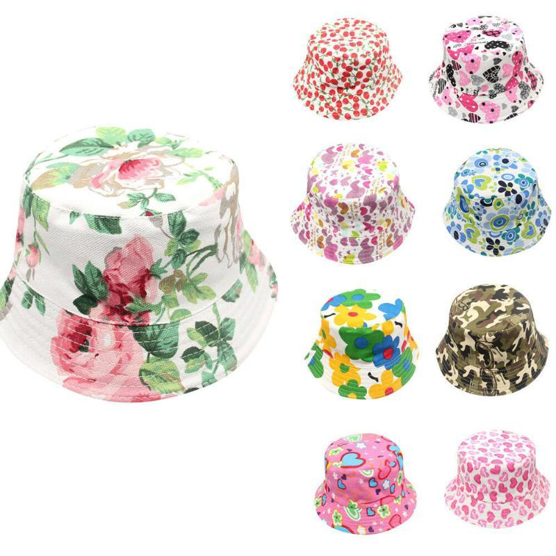 Toddler Baby Kids Boys Girls Hats Gift Floral Pattern Bucket Hats Sun Helmet Cap