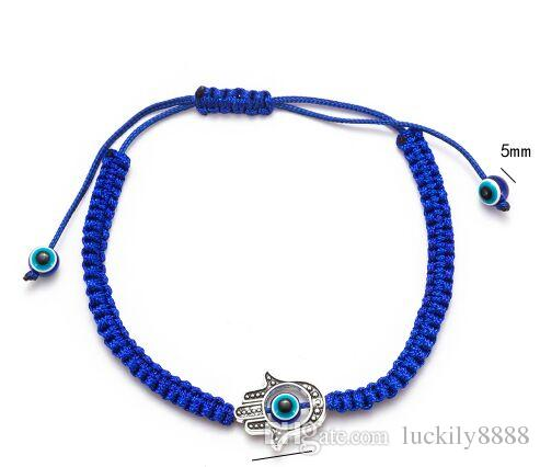 Free ship 20pcs Lucky Kabbalah blue String Thread Hamsa Bracelets Blue Turkish Evil Eye Charm Women Handmade Friendship Jewelry
