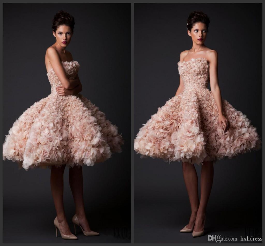 2020 Nueva Krikor Jabotian Vintage vestidos de novia sin tirantes de longitud de la rodilla a corto vestidos de novia de tul vestido de novia Tamaño Blush A-Line Plus