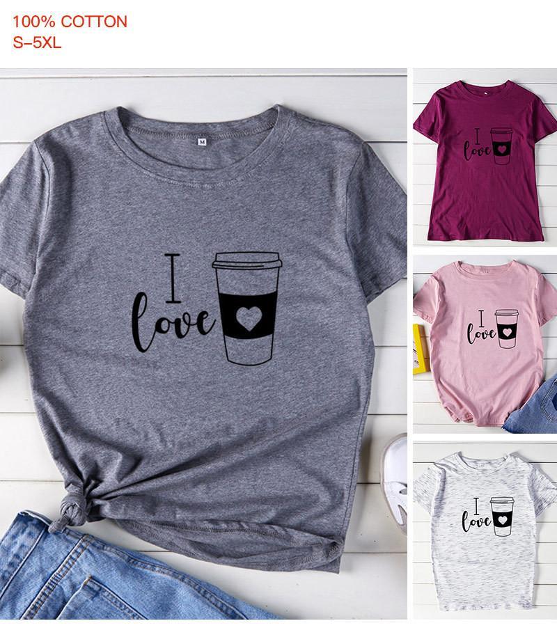 Más el tamaño S-5XL verano de las mujeres diseñador camisetas Carta de café del amor me corta impresa mujer de la manga Tops Vestimenta Mujer