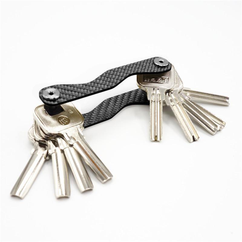 Akıllı Anahtar Tutucu Anahtarlık Karbon Elyaf Cep Organizatör Temizlikçi Çoklu Anahtarlık Cep anahtar Aracı Organizatör siyah