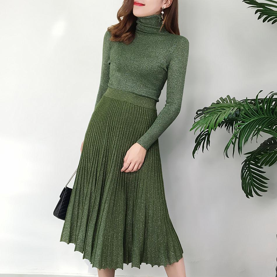 rétro soie brillante de l'automne et l'hiver des femmes pull à col roulé pullover chandail costume + dames jupe longue plissée conviennent 2019New V191128