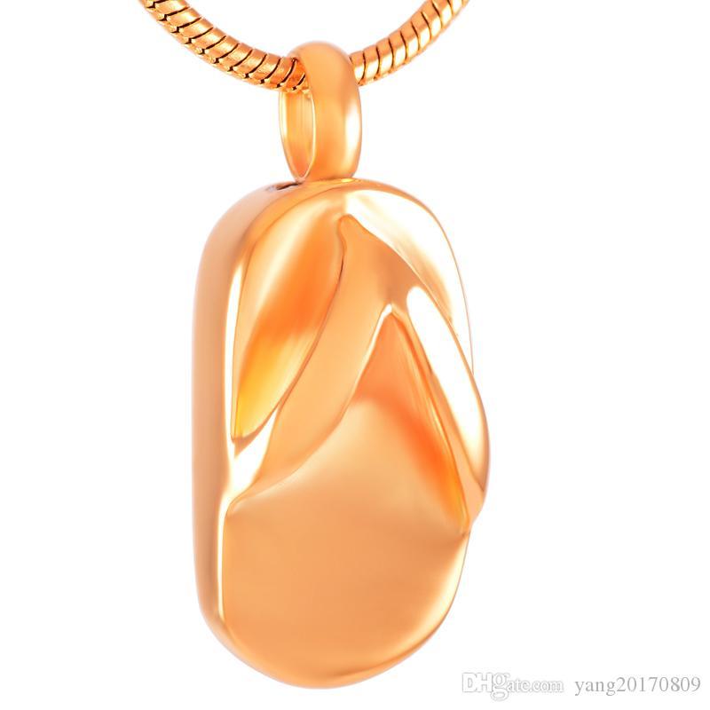 Küller Urn Keepsaker kolye kolye Bayanlar Takı için IJD8401 Rose Gold Flip-flop Paslanmaz Çelik Ölü Yakma külleri Hatıra