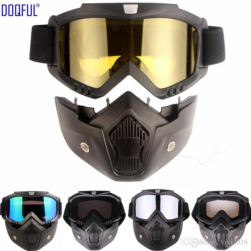 Amovible Lunettes Masque coupe-vent antipoussière UV Protection Lunettes De Sécurité Vélo Moto Tactique Lunettes Visage Masques