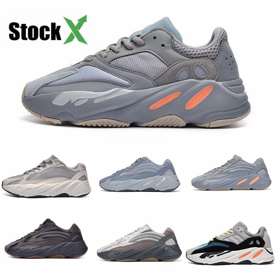 Com Box Novas 700 do corredor da onda malva Inércia Mens Sapatos Kanye West Designer Shoes Homens Mulheres 700 V2 estáticos Esportes Seankers Tamanho 36-45 # 51 # QA456
