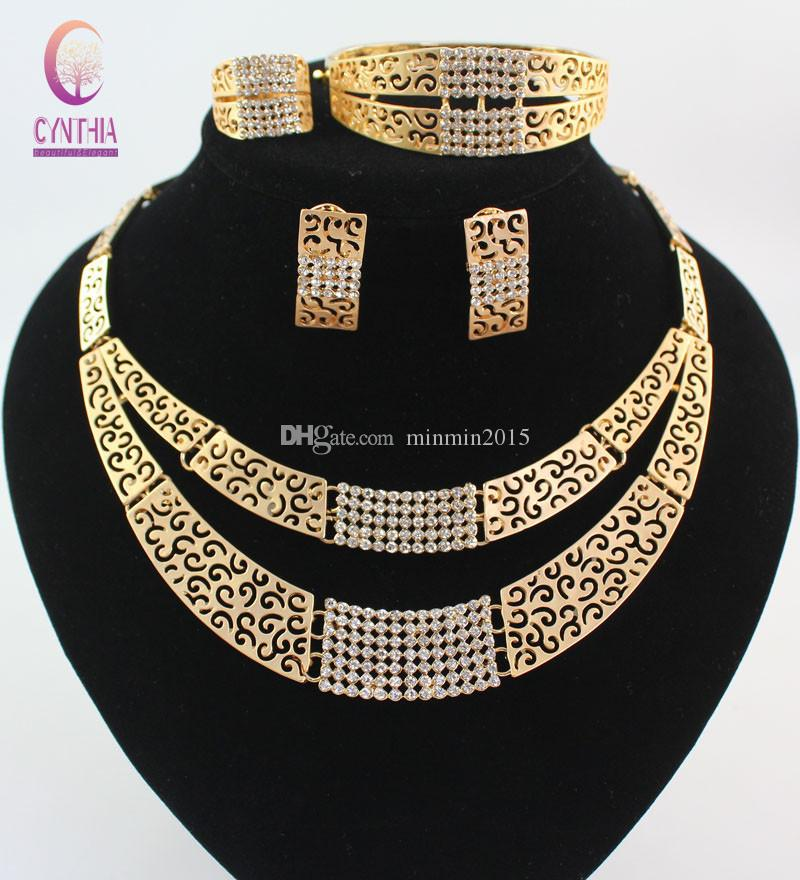 African Costume Jewelry Sets Gold color Fashion Crystal Rhinestone Wedding Bridal Necklace Bangle Earrings Ring Set