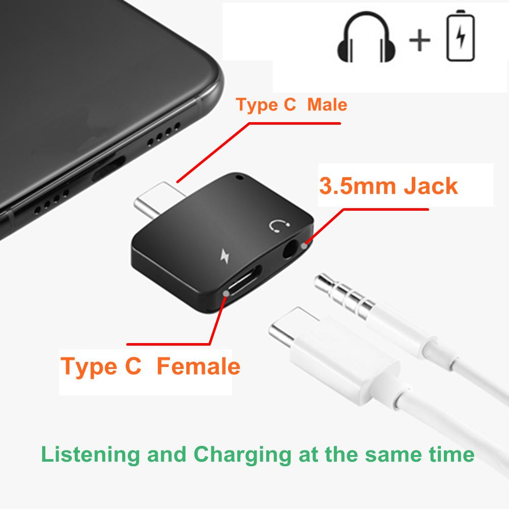 2 in 1 Type-C Audio Charging Adapter USB Type C to 3.5mm Headphone Jack Charger Converter Connector for MacBook Xiaomi Mi6 Letv