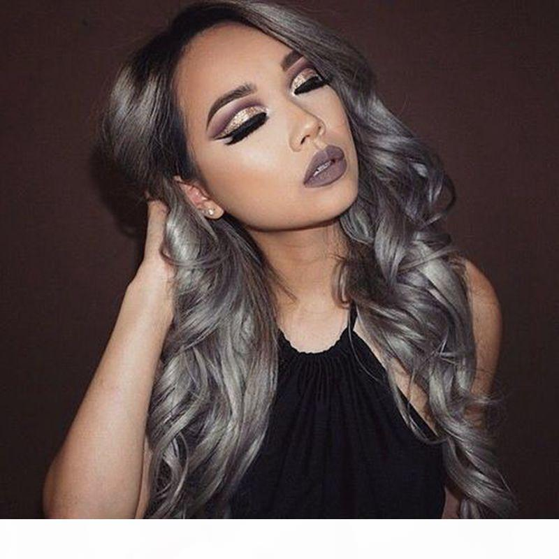 Body Wave Full Lace Wig gray Color With Black Hair Roots Human Hair with Baby Hair For Black Women