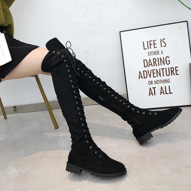 Women Sexy Lace Up Over The Knee Boots Plus Size 43 Suede Thigh High Boots Long Boots Female Winter Shoe Women Botas Mujer Green Boots Cute Shoes From Wholesportshop 40 16 Dhgate Com