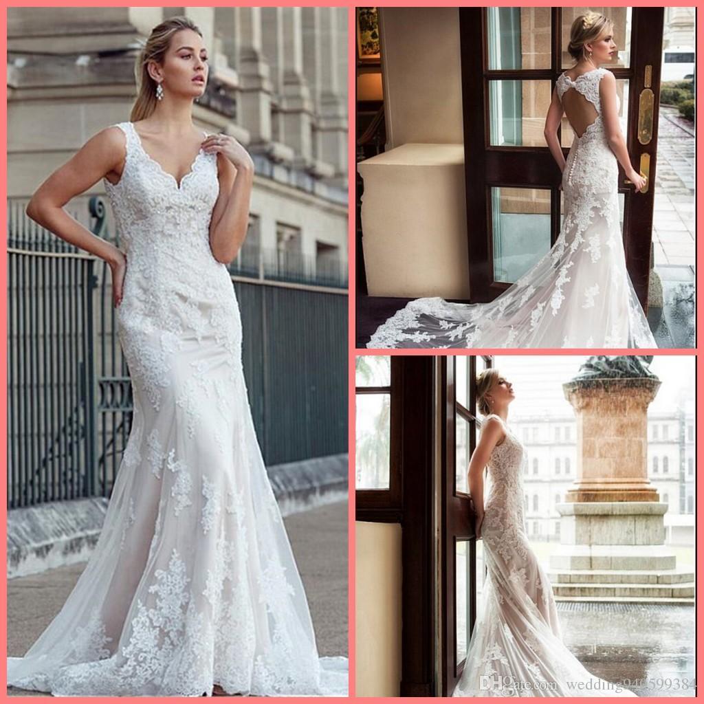 vestido de novia 2019 vestido de novia blanco champán cordón de la sirena sin mangas de cuello en V sin respaldo vestidos de novia para la ceremonia robe de mariee 2019