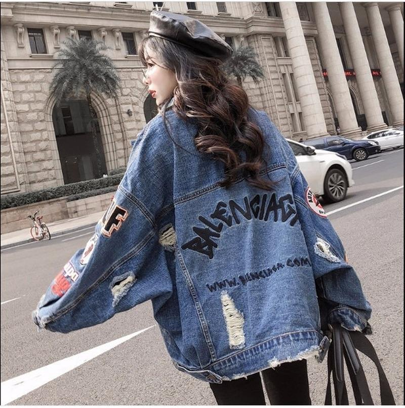2019 Harajuk Сыпучие Джинсовая куртка женщин вышивка джинсы Coat Hip Hop Hole однобортный джинсы куртки вскользь куртка женщин T200106