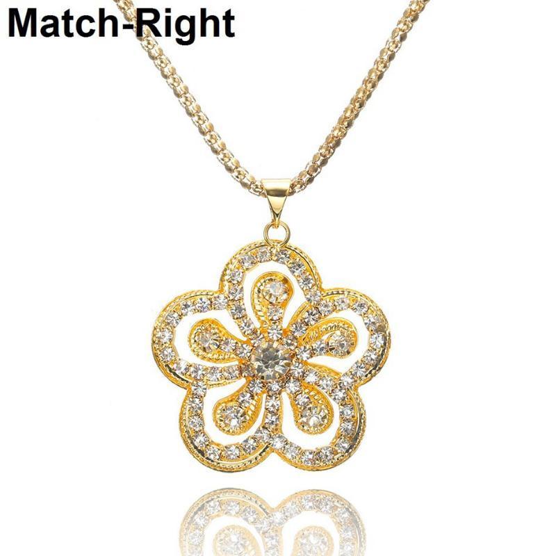 2020 Or Collier Fleur pour Bijoux Femmes Charm Sautoirs Pendentifs Femmes Cadeaux Collares Mujer Collier Colar KK271