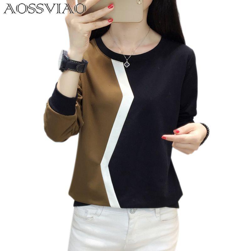 patchwork beden tişört kadınlar tshirt uzun kollu t shirt kadın mujer 2019 CJ191222 sonbahar ve kış tişört femme camisetas başında
