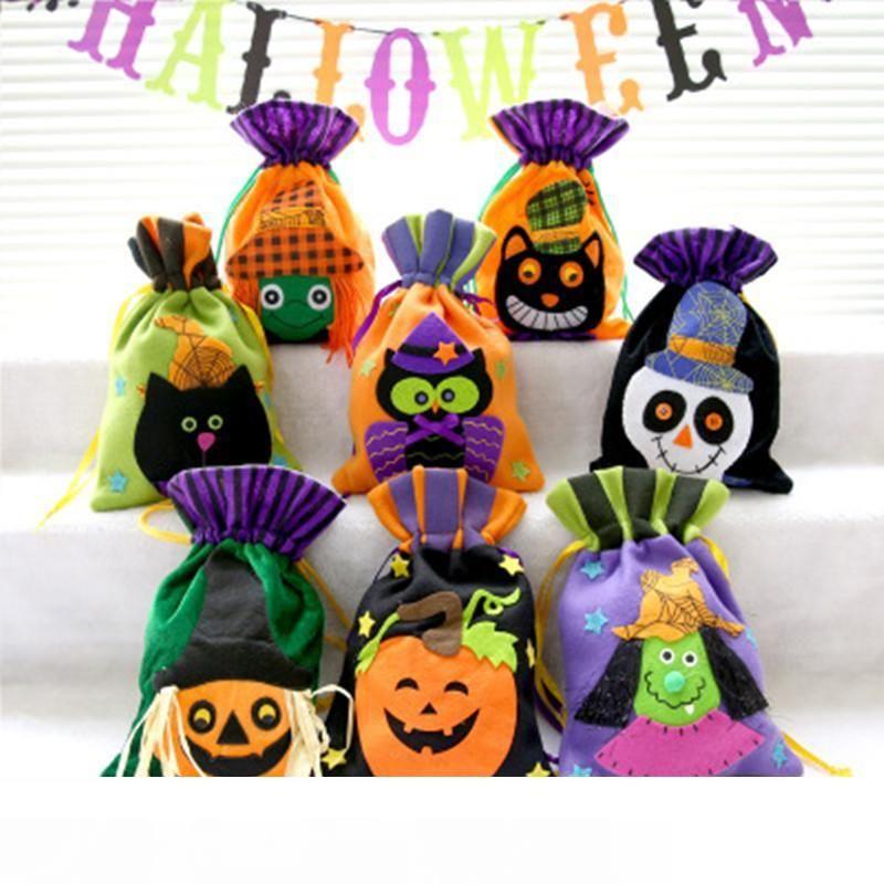 8colors no tejido de Halloween con asas de tela portátil fantasma bolsos calabaza del partido del festival cráneo decoración de caramelo bolsa de regalos
