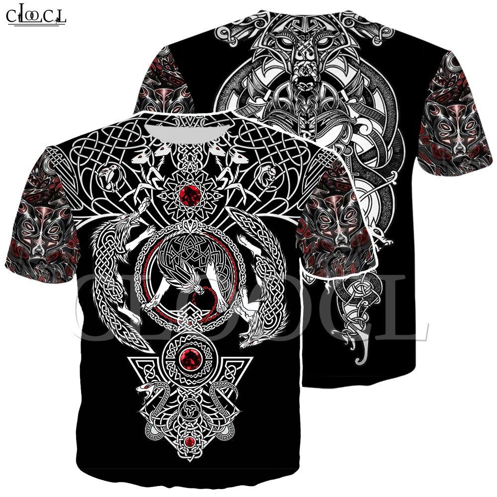 Fabrik-Großhandel Nordic Viking Tattoo Art Schädel-T-Shirt Frauen-Männer Piraten 3D-Druck-T-Shirts Wikinger König Short Sleeve Casual Tops