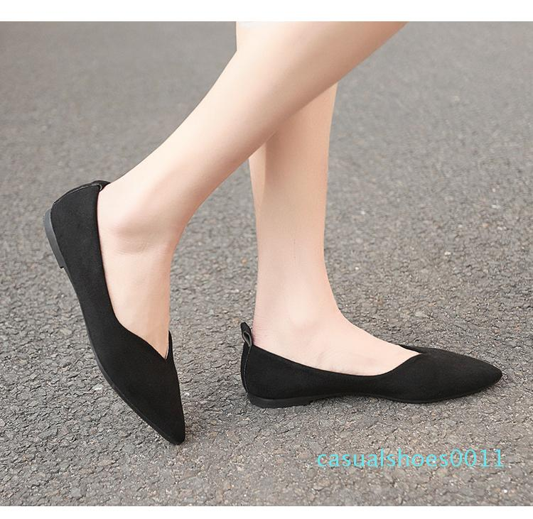 Caliente la venta de la primavera nuevas mujeres solteras zapatos de cabeza redonda boca baja del pie el sistema ocasional del talón bajo zapatos cómodos planos individuales dulces femenina