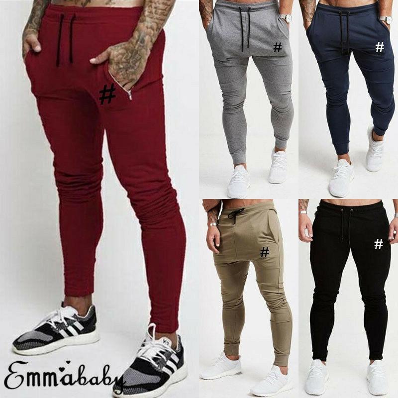 Compre Los Pantalones De Los Nuevos Hombres De Sport Pantalon Para Hombre Slim Fit Chandal De Gimnasia De Los Deportes Pantalones Casual Male Largo Flacos De Los Pantalones Es A 7 97