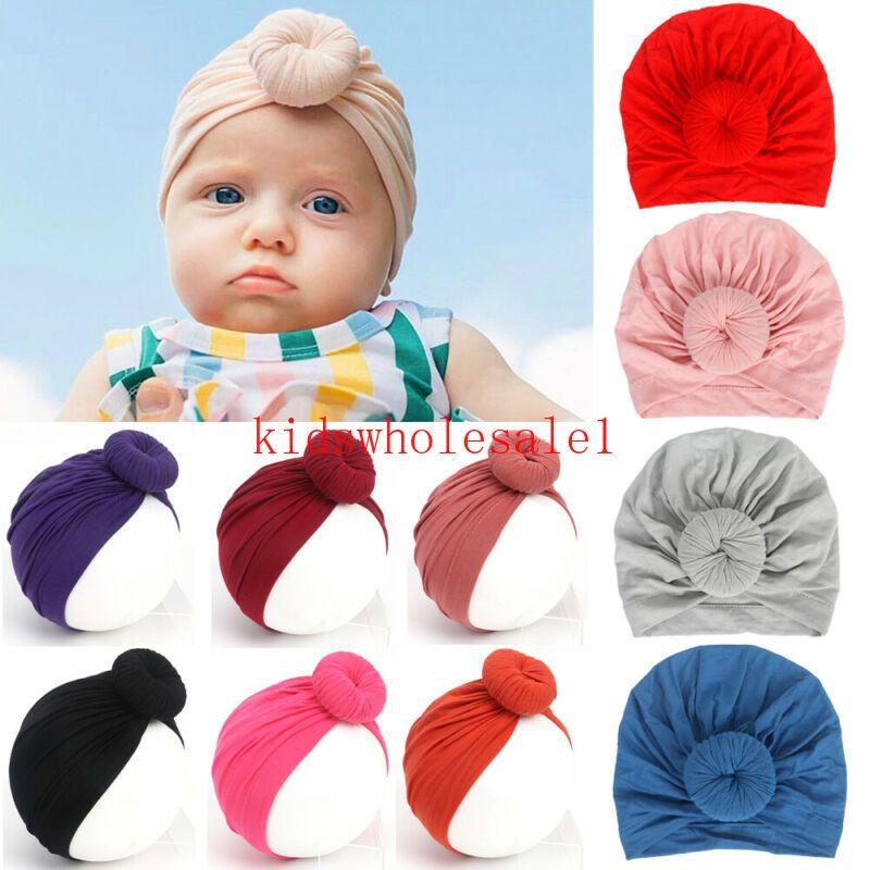 Bebek Çocuk Kız Bebek Boy Turban Pamuk Beanie Hat Kış Cap Bow Düğüm Sıcak Şapkalar Tavşan Kulak Katı Wrap Aksesuarları
