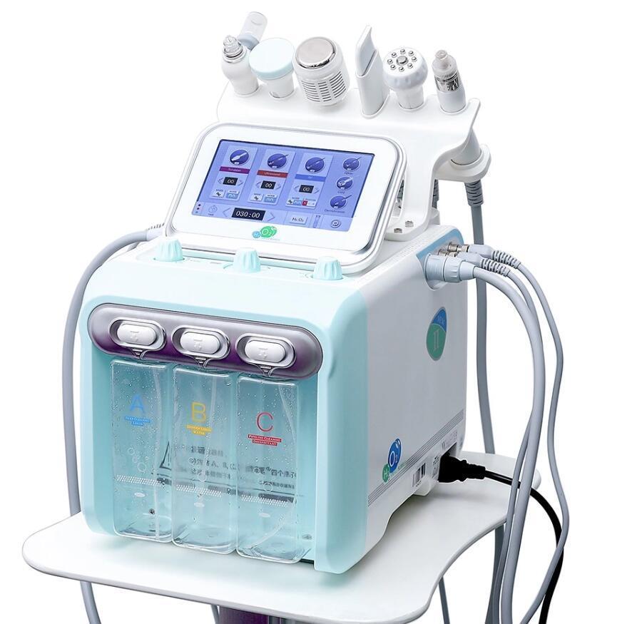 6'da 1 H2 O2 Hidro Yüz Soyma Makinesi Hydra Mikrodermabrazyon Oksijen Yüz Sprey Vakum Cilt Temizleme Bio Rf Yüz Bakımı Spa Kullanımı