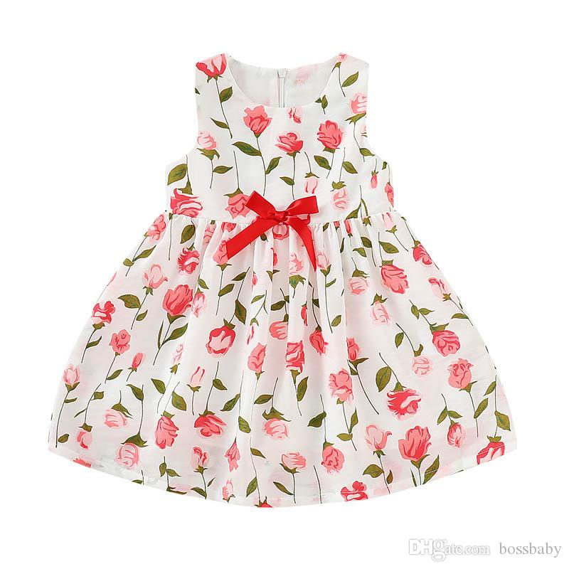 Abito delle neonate hanno stampato floreale Pieghe fiocco arricciato Zipper Dress bambini per il tempo libero vestiti delle ragazze Principessa al ginocchio tessuto Gonne 06