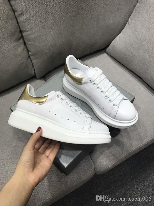 2019 Casual Top Flats Red Bottom Chaussures Luxe Nouveau pour les hommes et les femmes Party Designer Sneakers Lovers Véritable __gVirt_NP_NN_NNPS<__ gp18121236 en cuir