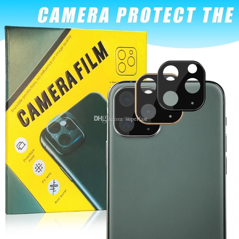 Camera Lens para o iPhone 11 Pro Tela Max Protector aro de metal Camera vidro temperado anti-risco Voltar Película para iPhone 11 PRO com caixa