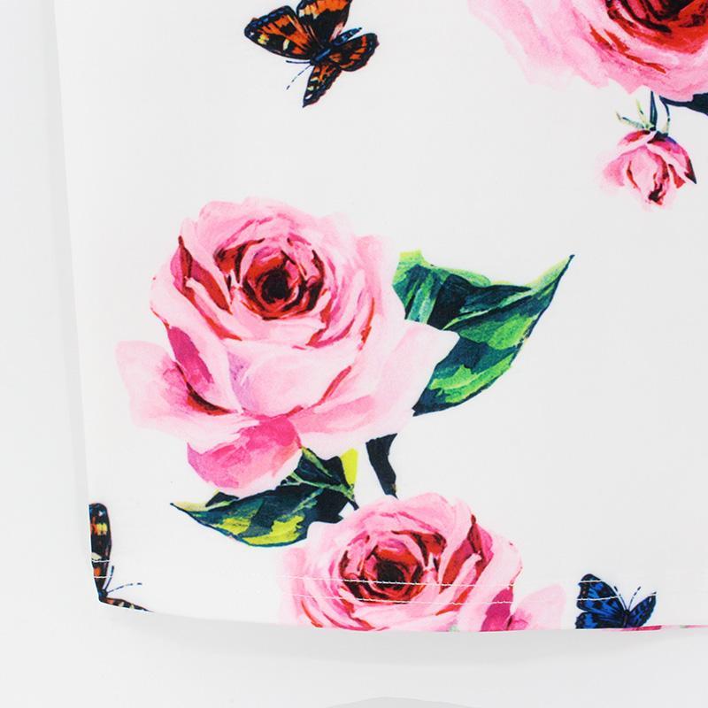 Hermicci 2019 de primavera y verano falda del lápiz de las mujeres de cintura alta de la impresión floral Señora elegante Oficina ajustado de la falda de Midi estilo de la vendimia