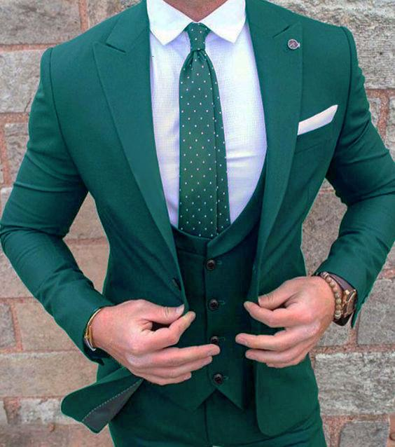 2019 New Mens Green Wedding Prom Suit Slim Fit Men Business Groom Suits Party Dinner Tuxedo 3 Pieces Suit Jacket Vest Pants T190908