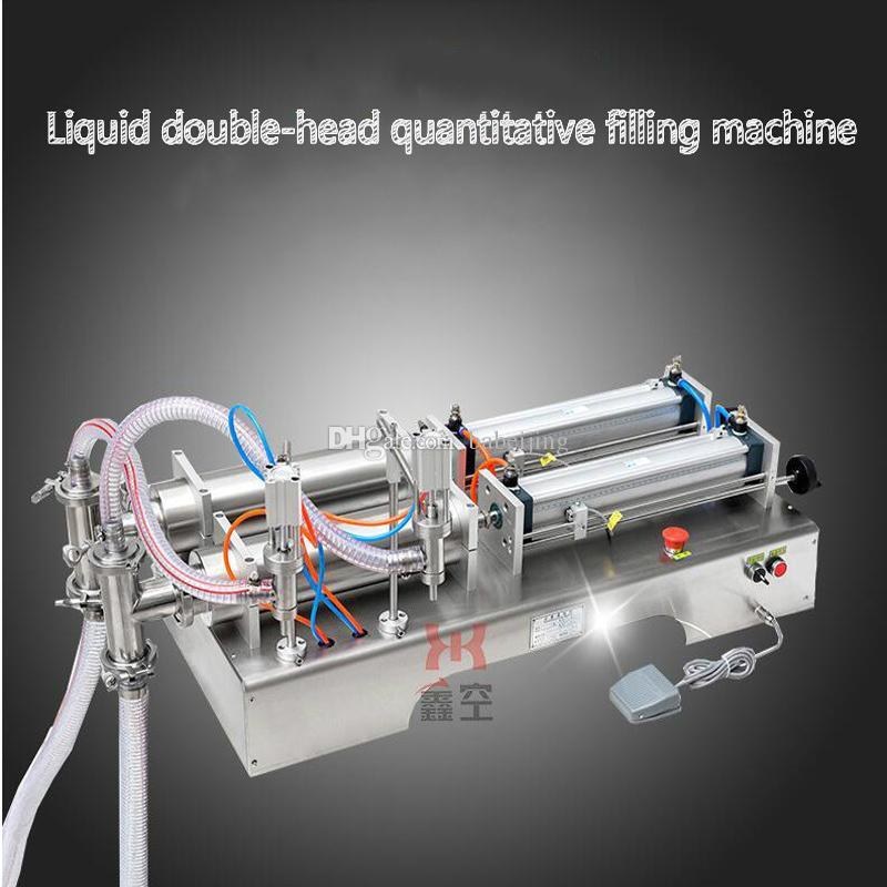 El pedal neumático salsa de soja de la máquina de llenado de líquido vinagre perfume máquina de llenado de doble cabeza líquido cuantitativa