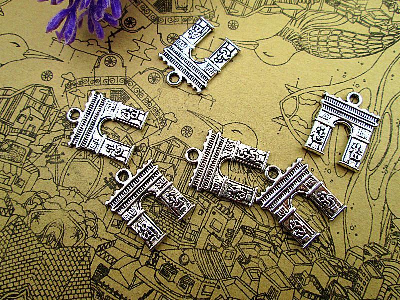 60pcs - Triumphbogen, Anhänger, Antik Silber Schöne Triumphbogen-Charme-Anhänger 15x18mm