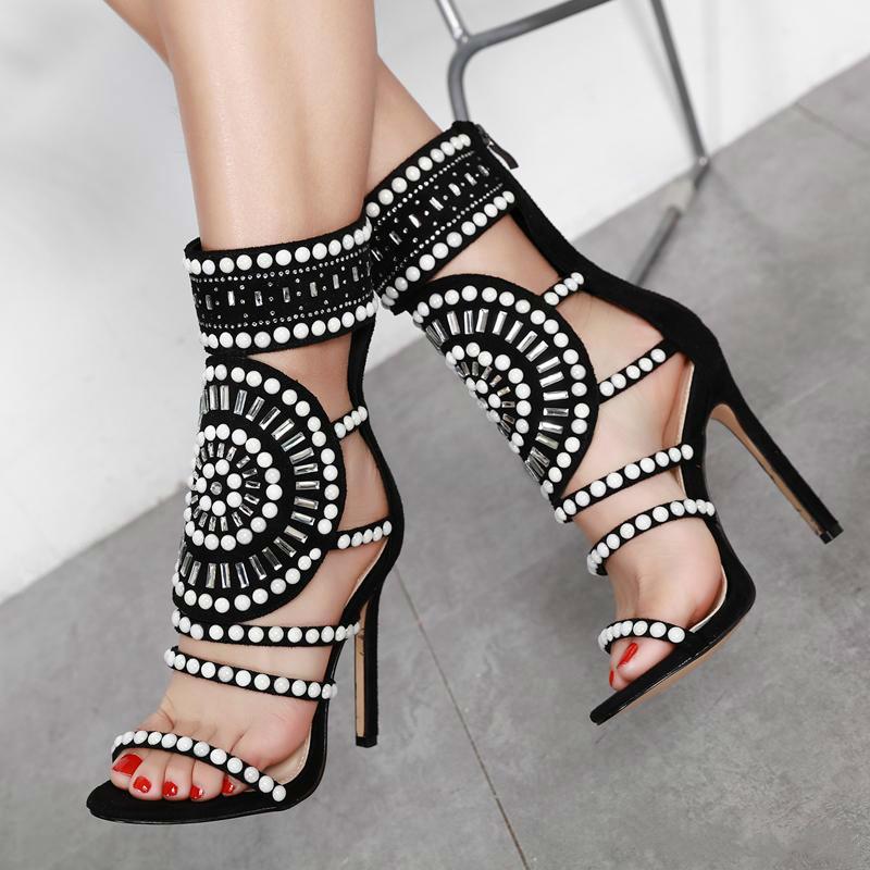 Womens Open Toe Strappy Cuff Stiletto High Heel Rhinestone Embellished Single Soles Sandals women fashion summer sandals