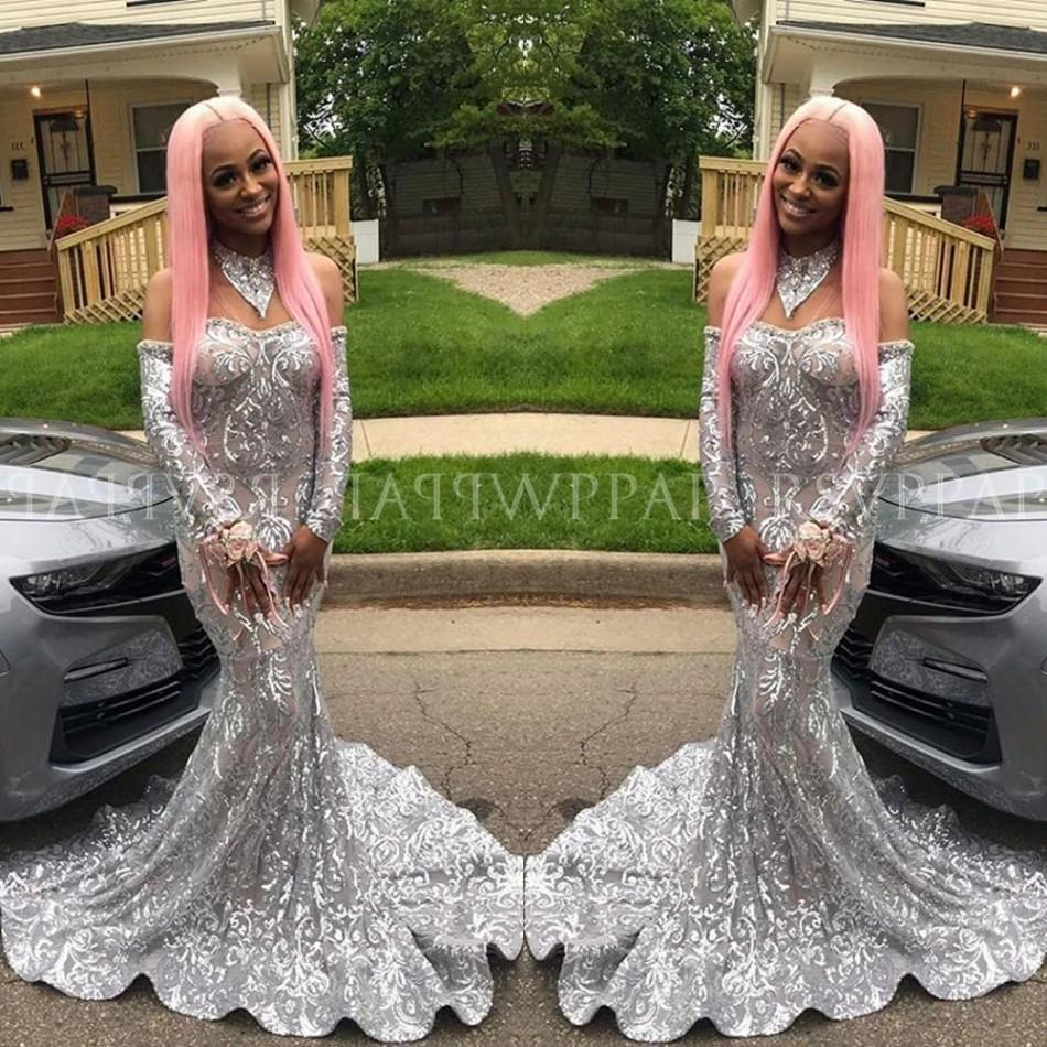 2020 African New Off Shoulders Silver Prom Reflective Dresses Long Sleeved Glitter Custom Made Evening Gowns