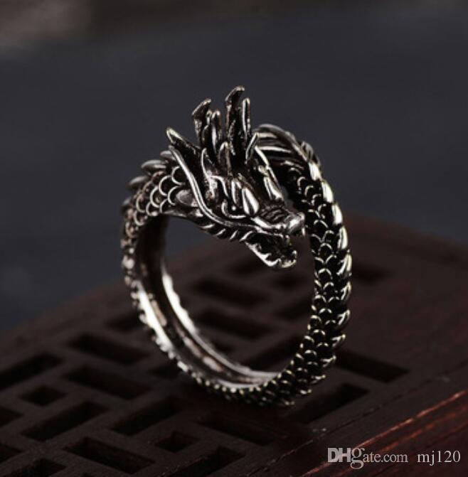 Retro anillo del dragón masculino inconformista personalidad dominante exagerado único abierto marea masculina Señora anillo del dedo índice