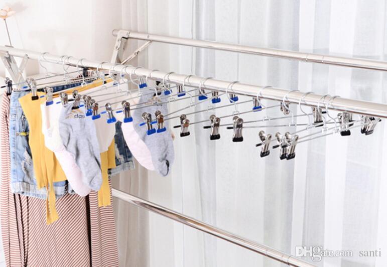 Aço inoxidável Hot Início Housekeeping Clipe Stands Cabide Calças Roupa saia Kid ajustável pitada aperto cabide cabides para roupas