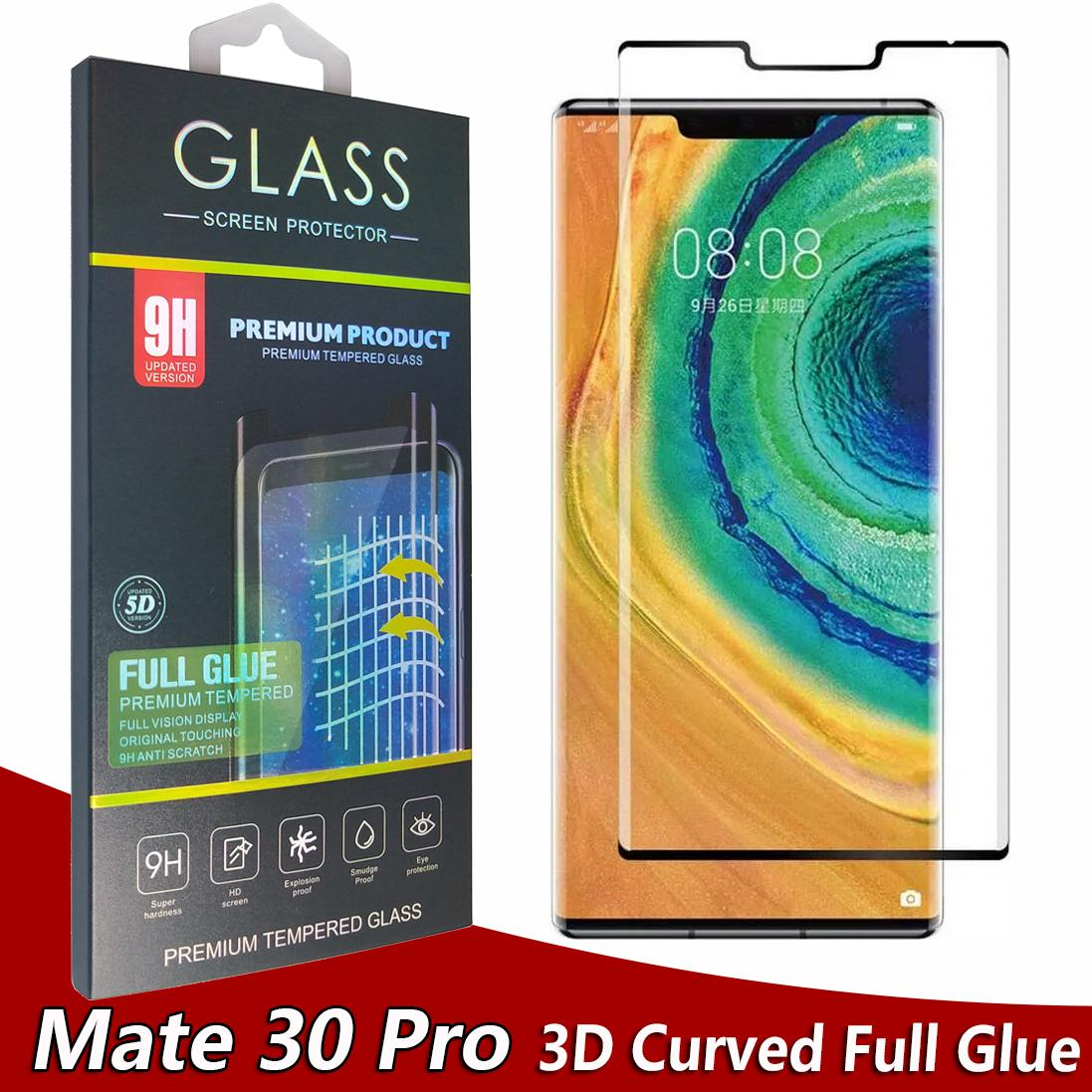 5D Curved Full Glue Full Cover Tempered Glass Phone Screen Protector for Huawei Mate 30 Pro Mate30 Pro In Retail Box