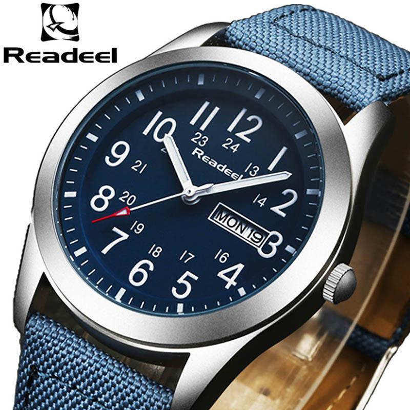 Orologi di sport degli uomini Uomini Readeel modo di marca del quarzo della data ora di orologio Man Army Military Orologio impermeabile saat di kol erkekle LY191213