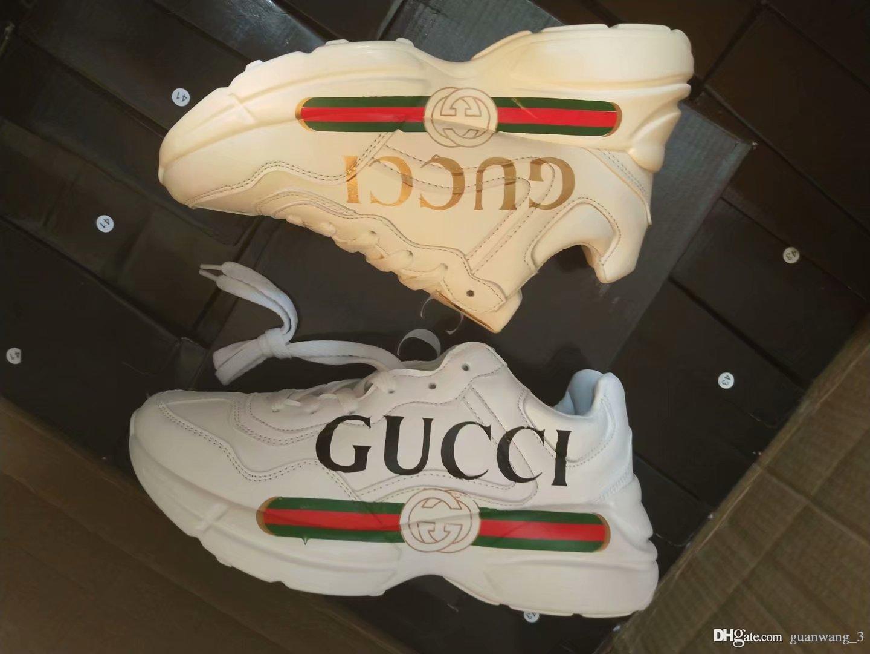 Sapatos Paizinho Carta Designer Marca Series Double G Sapatos de sola grossa de bolinhas de impressão executando Casual Shoes 7 Cor Tênis Outdoor