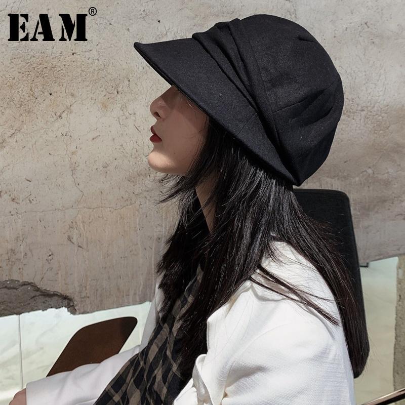 [EAM] женщины черный плиссированный стежок рыбаки шляпа новый круглый купол темперамент мода прилив все-Матч весна осень 2020 JQ808