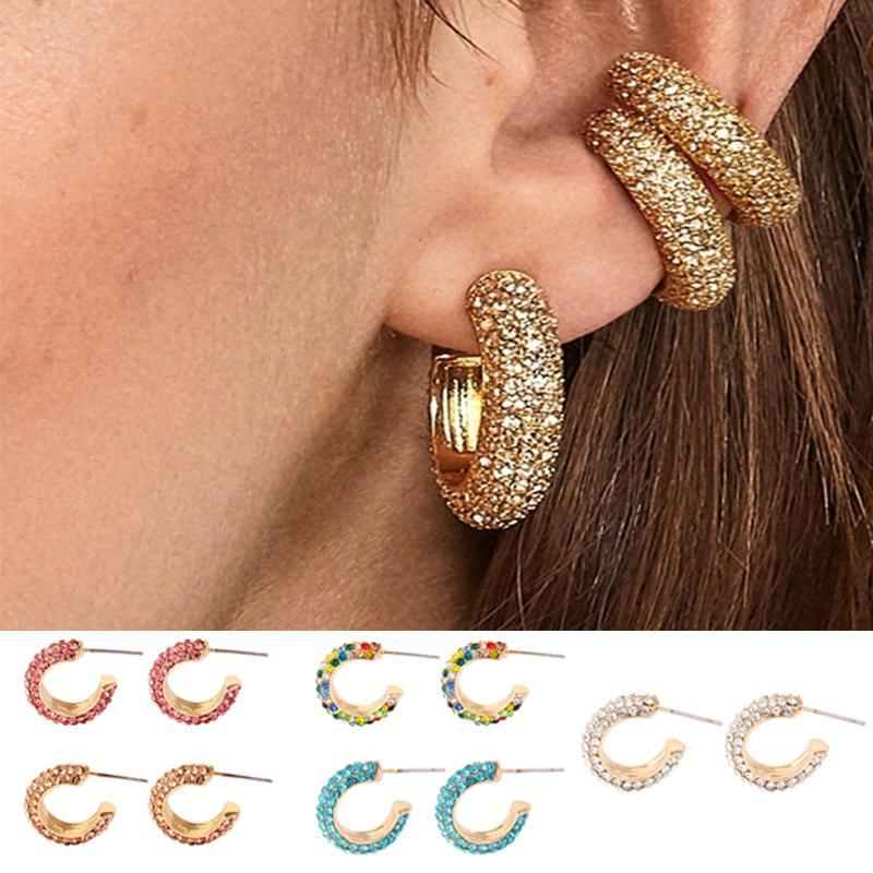 Fahshion ronde or Mini Boucles d'oreilles strass colorés cuivre boucles d'oreilles en forme de C-Party bijoux de mariée pour les femmes J55
