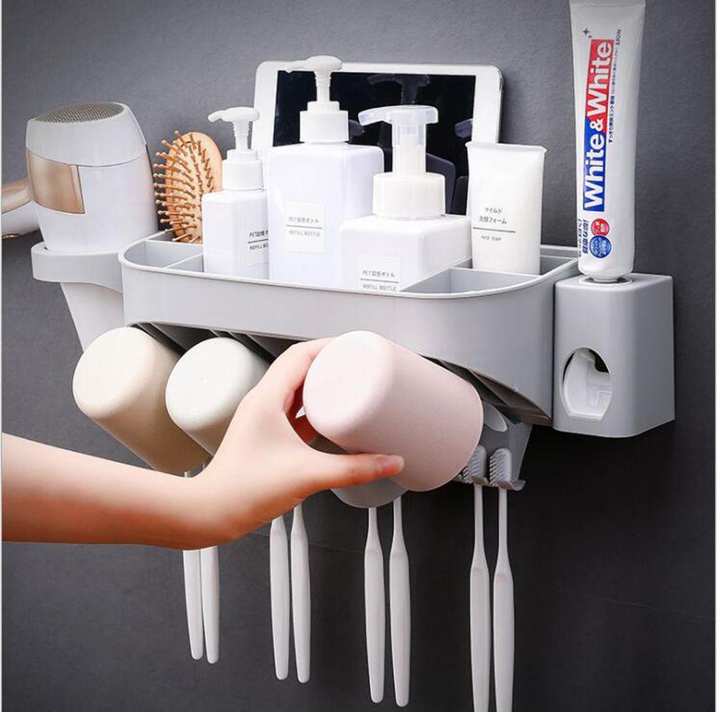 Rangement Pour Seche Cheveux acheter porte brosse À dents multifonctions avec support pour sèche  cheveux, rangement pour organisateur de salle de bain, distributeur mural  pour